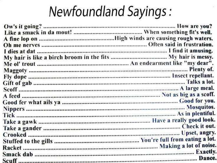 Newfoundland Dialect