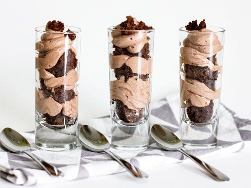 Chocolate Mousse and Brownie Shot-Glass Desserts - just whip up your favorite brownie recipe and pudding from an instant mix, and add a little whipped cream.  Read more: Shot Glass Desserts - Mini Dessert Recipes - Redbook  Follow us: @REDBOOK Magazine on Twitter | REDBOOK on Facebook  Visit us at Redbook.com
