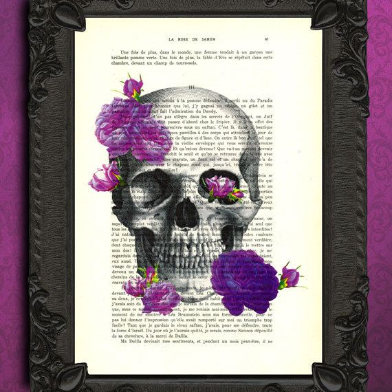 Hey, I found this really awesome Etsy listing at https://www.etsy.com/listing/181487311/skull-print-with-roses-purple-roses