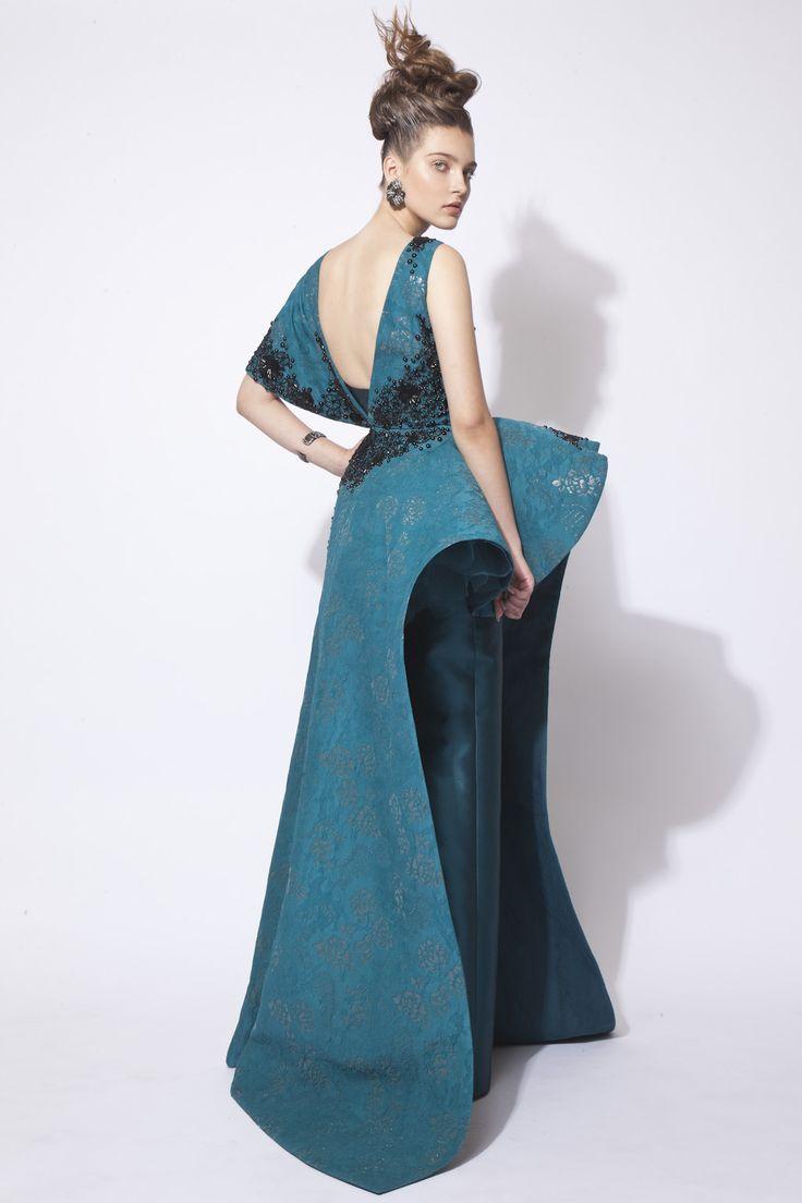 Green Hand Beaded Silk Brocade Dress