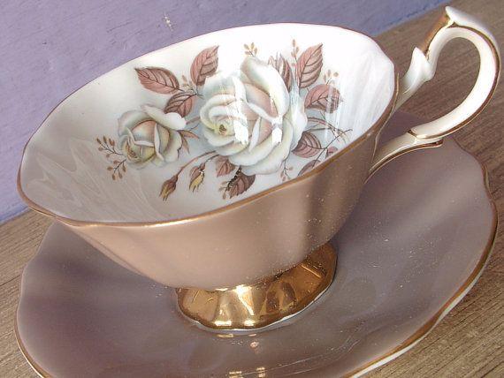 UNIQUE Antique Queen Anne mocha brown tea cup and saucer, white rose tea cup, English tea cup set, bone china tea cup, English roses tea cup