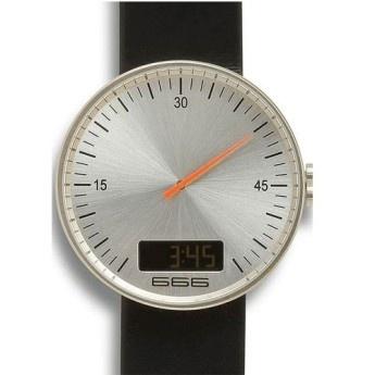Reloj Under Pressure Plata  Ref: 666-003  Reloj 666 Barcelona Digital de Acero, Esfera Plata con Segundero Naranja y correa de piel antialérgica negra  http://www.tutunca.es/666barcelona