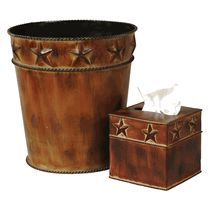 Rustic Star Waste Basket and Tissue Box