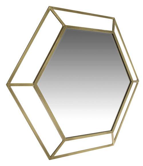 36€ Espejo decorativo hexagonal con marco de metal en color dorado. Medidas: 81 x 81 cm.
