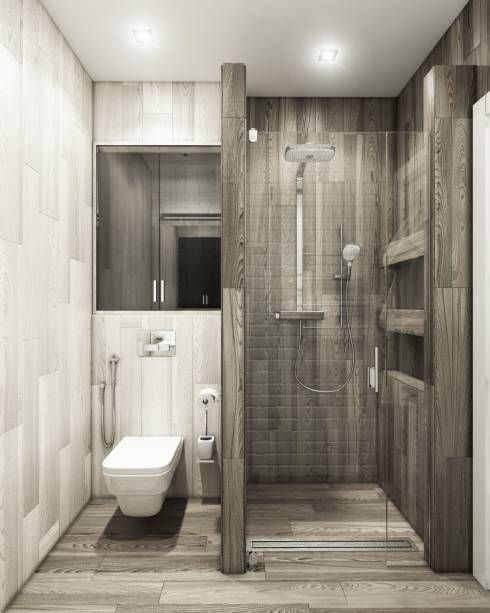 White Grey Bathroom with Shower Room and Toilet #smallbathroom