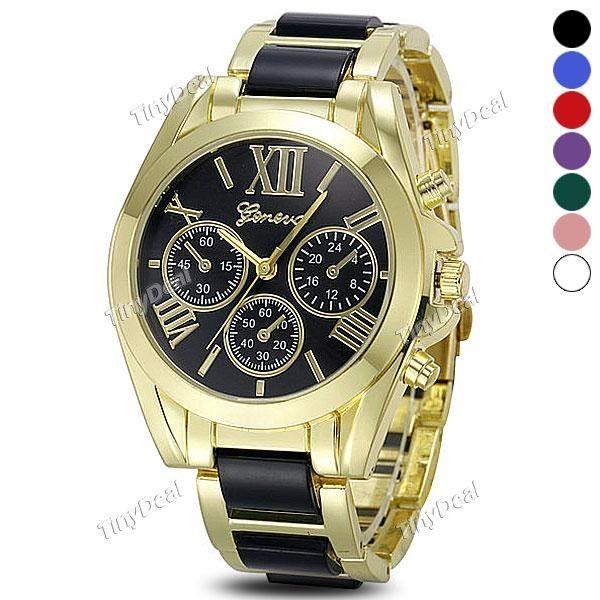 в женеве функции суб - набрать дату кварцевые часы золотые круглый циферблат стали ремешок для женщин WWT-410297