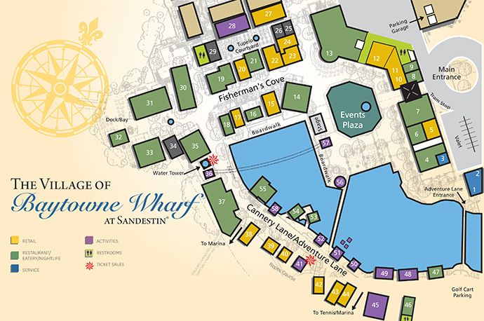 Village Of Baytowne Wharf Map Destin Shopping And