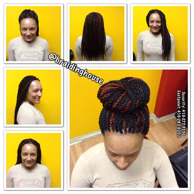 Large Senegalese Twists, Bun, Long Twists, Individual Twists, Rope Braids by the Braiding House.