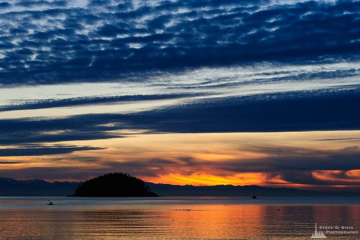 Steve G. Bisig posted a photo:  A landscape photograph of Deception Island and the calm waters of Bowman Bay during an early winter sunset at Deception Pass State Park, Washington.