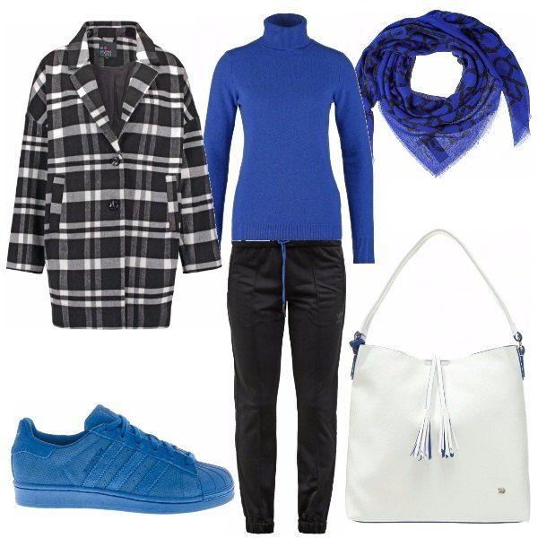 Outfit prettamente sportivo, comodo pratico... ma senza mai perdere d'occhio lo stile. Insolito abbinamento di blu e nero, schiarito da toni di bianco. Perfetto da giorno, si, ma perfette per uscire di corsa nelle nostre commissioni con un tocco fashion.