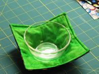 Any size bowl. The Quilting Kitty - Microwave Bowl Holder Tutorial - Microwave Bowl Holder Tutorial if you make the dart thinner you can make protectors for non stick pans to be stacked on top of each other.