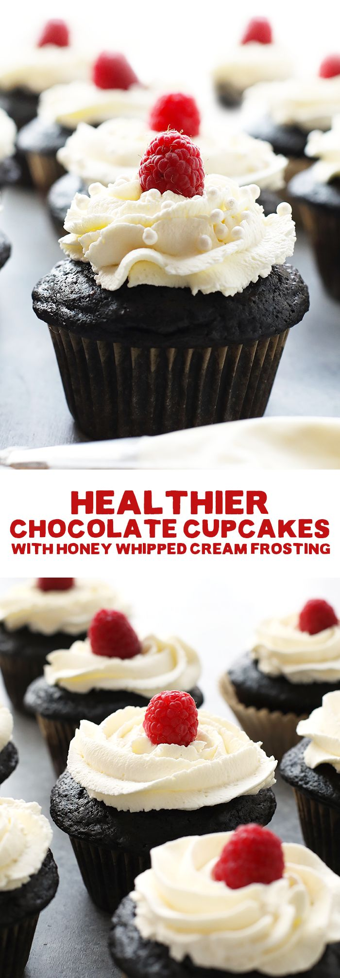 This healthier chocolate cupcake recipe is lightened up with white whole wheat flour, Greek yogurt, and coconut sugar for the perfect, not-too-sweet dessert!