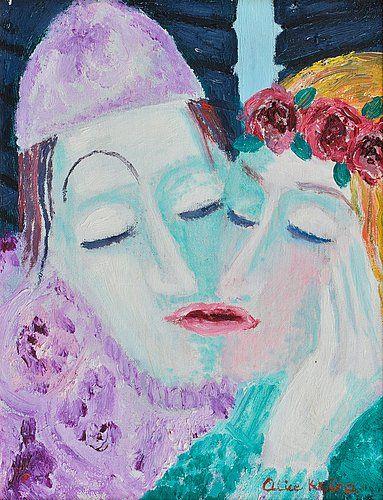 Alice Kaira: Hellyys, 1989, öljy levylle, 35,5x27 cm - Bukowskis