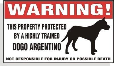 Warning DECAL trained DOGO ARGENTINO dog bumper or window sticker | eBay
