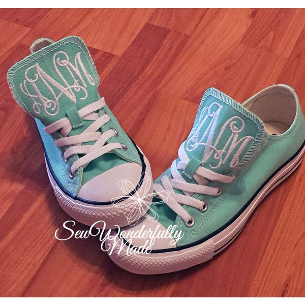 Monogrammed Mint Converse Monogrammed Wedding Day Shoes Beach Glass... ($70) ❤ liked on Polyvore featuring shoes, grey, sneakers & athletic shoes, women's shoes, grey evening shoes, evening bridal shoes, holiday shoes, mint green shoes and embroidered shoes