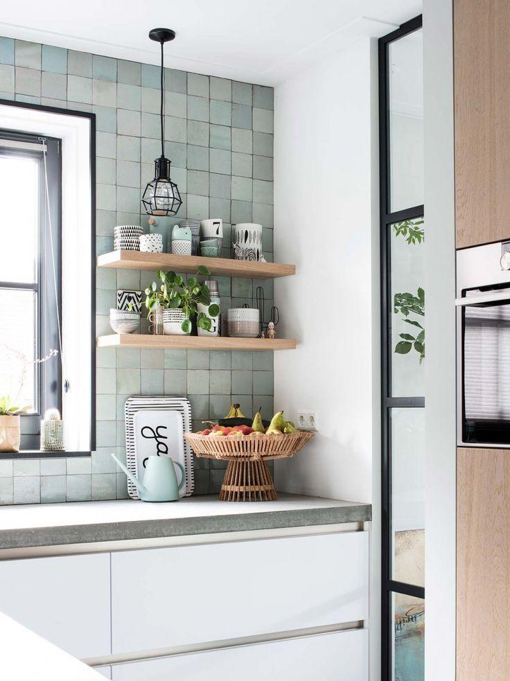 Skandinavisch Kuche Mint Grun Fliesen Holz Kuhlschrank Industrie Kuche Haus Kuchen