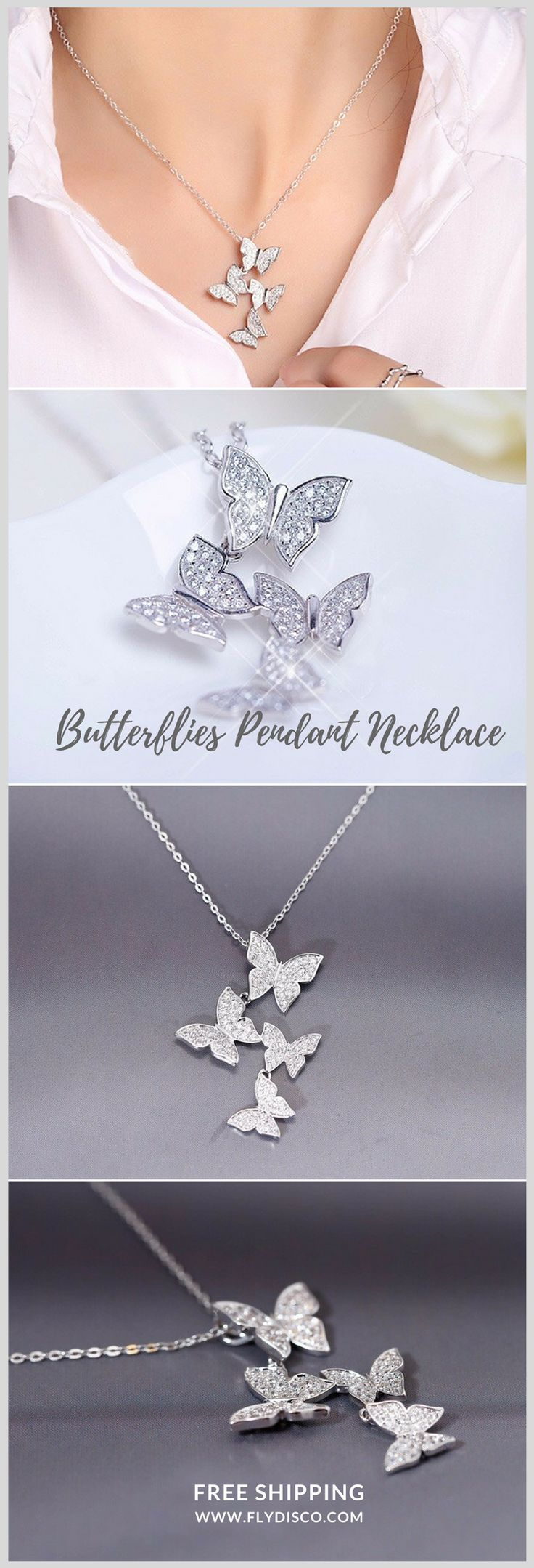 Butterflies Pendant Necklace - They are the symbol of freedom, so when butterflies choose to group together, it's because they use to do it. A delicate and elegant necklace, for the FREEDOM lovers ♥