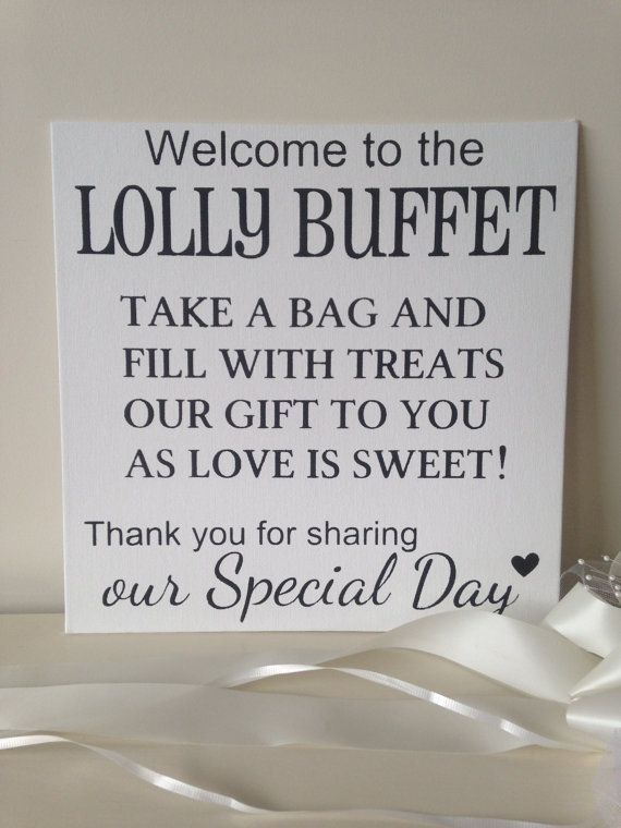 Welcome to the Lolly Buffet shabby chic wedding by Cumquatcottage