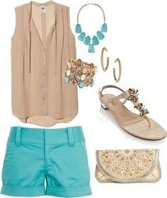 I found 'Beige & Turquoise Shorts Summer Outfit' on Wish, check it out!
