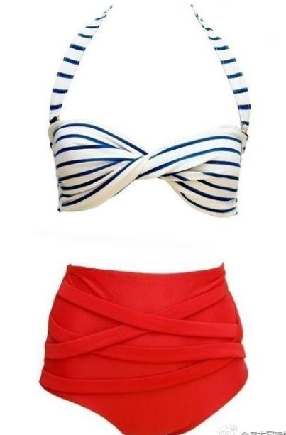 Striped Bikini Top and Red High Waisted Bikini Bottom