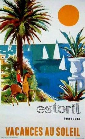 Vintage Travel Poster - Estoril, Portugal . Beach www.varaldocosmetica.it/en olive cosmetics from the riviera .
