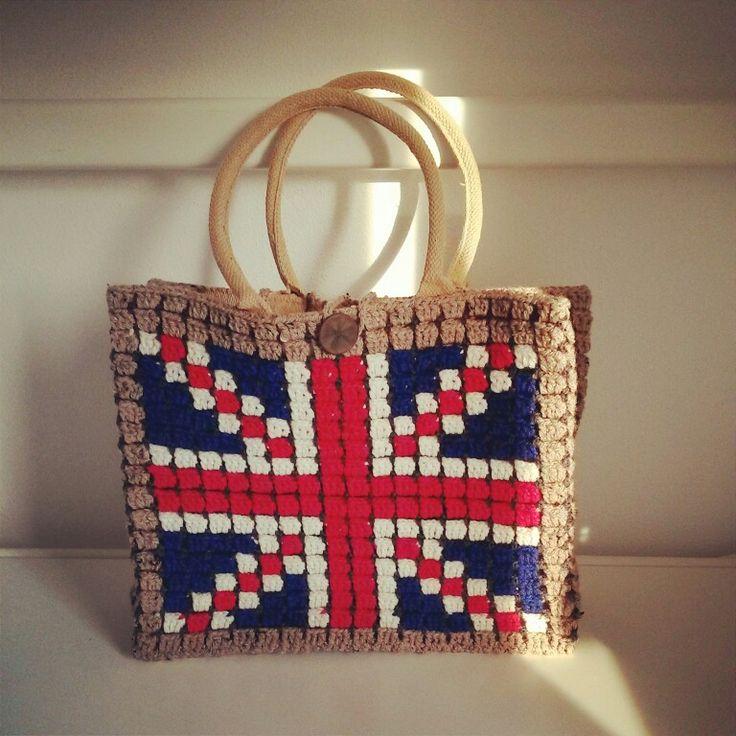 Engeland tas met AH binnentas. Gemaakt door Leontine van Engeland.