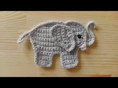 crochet applique | How to crochet an elephant application applique for left handed ...