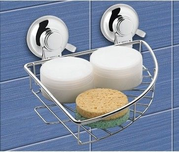 Suction Cup Chrome Single Basket Rounded Triangle Shower Basket contemporary shower caddies  #Luxury #Spa #Robe #Plush #pamper #bath #towels