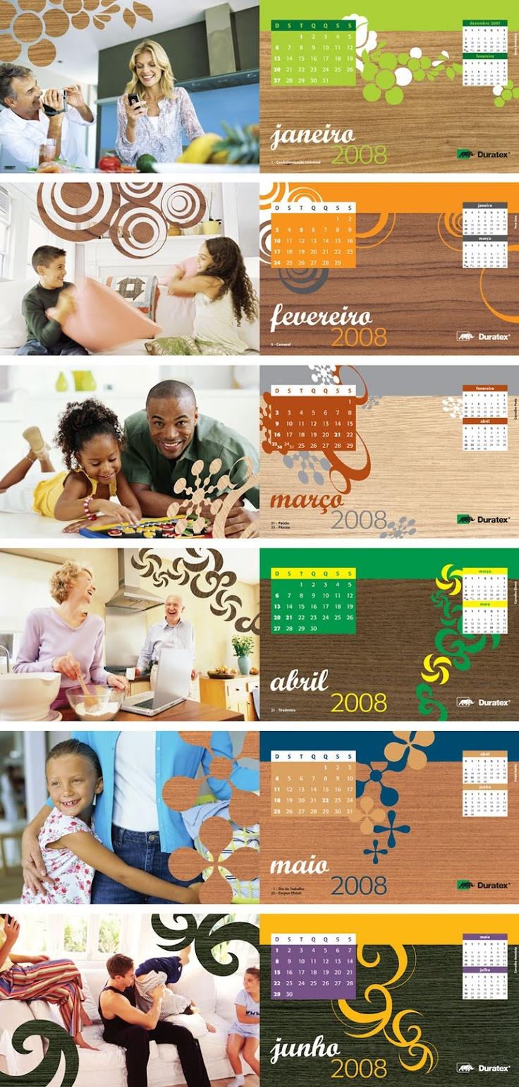 Folhas de Calendário Duratex 2008 - Lifestyle e muitas cores sobre padrões madeirados