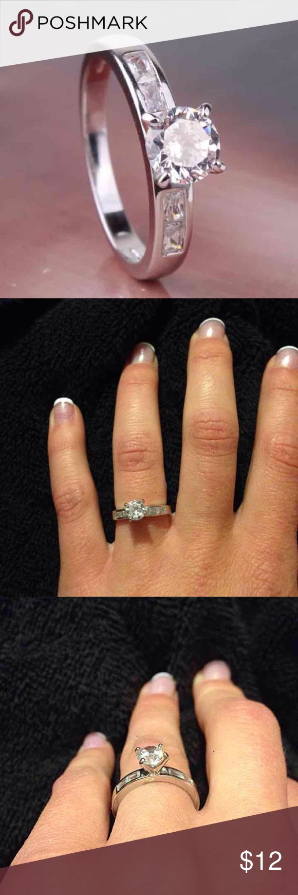 Solitaire White Gold Engagement Ring Round solitaire stone with Emerald cut stones on either side.  White gold plated ***comes in ring box FIRM PRICE/NO TRADES❗️(cheaper on ♏️) Jewelry Rings