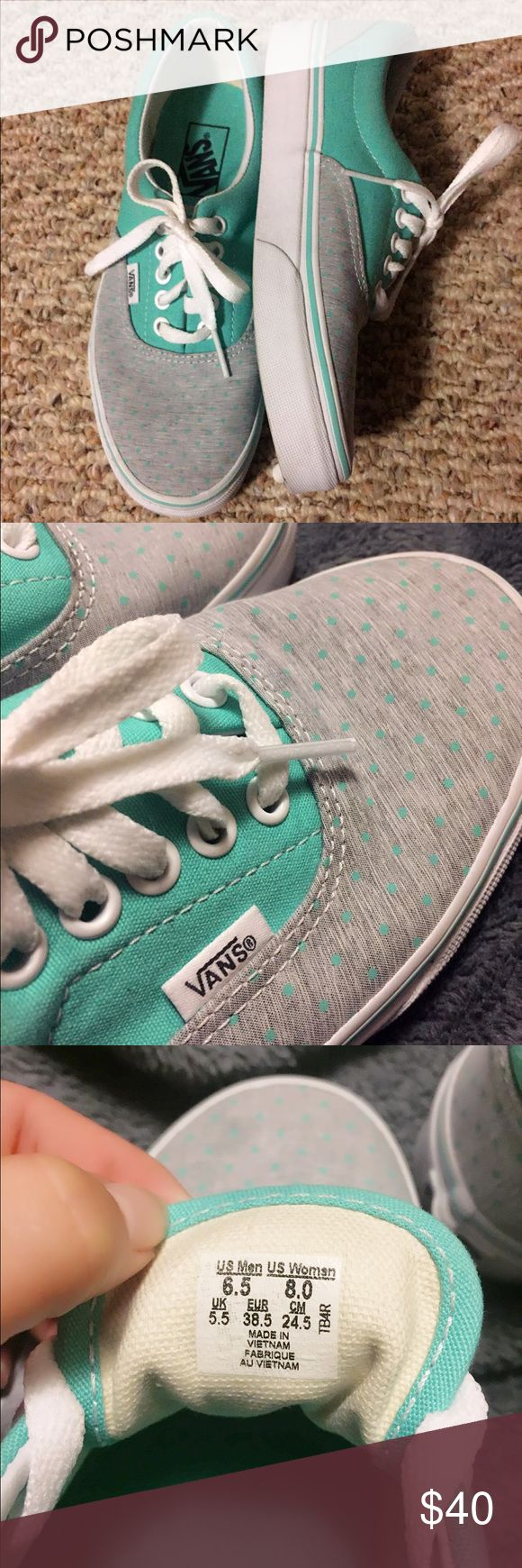 Teal Vans Women's Teal vans with polka dots in the grey. Worn one time and not outside. Basically brand new. Smoke free home. Vans Shoes Sneakers