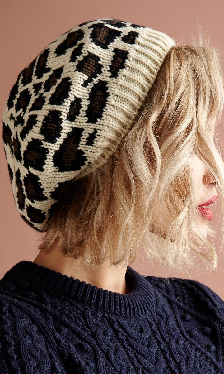 Soft leopard-printed beanie. A chilly day must-have.