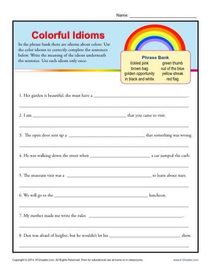 "Colorful Idioms - Worksheet Practice Activity - Each idiom features a color, such as ""green thumb"" for your student to use in a sentence."