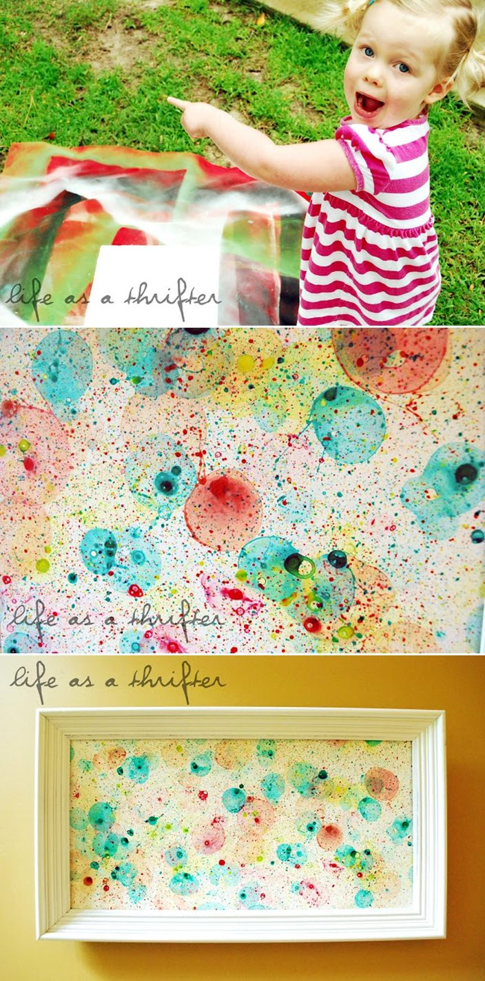 Bubble Art with kids. Wouldn't this be a beautiful gift for Momma on Mother's Day?! Just to have their little art pieces displayed makes the babies feel so proud!!