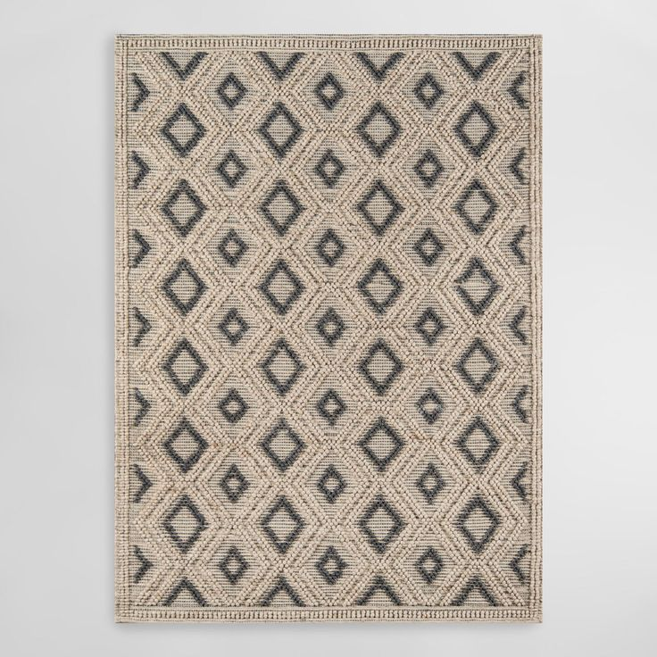 Natural And Black Diamond Wool Imrie Area Rug 7ft9 Quot X9ft9