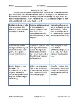 Fifth grade reading response tic tac toe