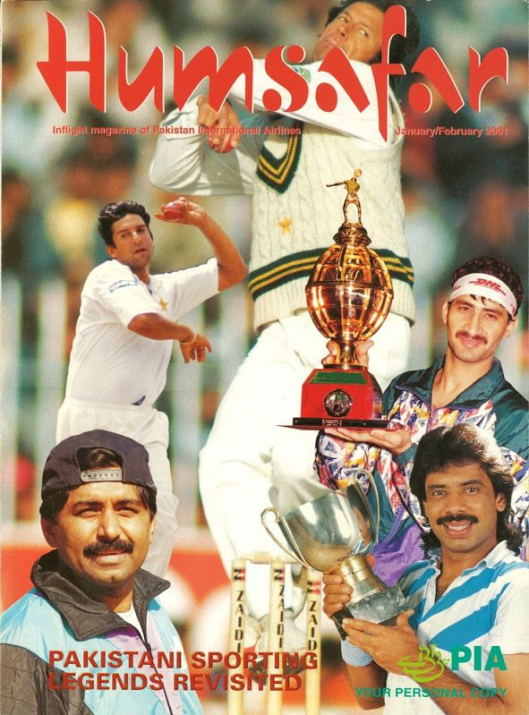 PAKISTAN INTERNATIONAL AIRLINES - Inflight Magazine - Jan/Feb 2001 Humsafar PIA /     Airline: Pakistan International Airlines     Magazine Name: Humsafar     Date: January/February 2001     Magazine Comments: Feature on Pakistani sporting legends     Magazine Details: Includes route map     Comments: Flag carrier of Pakistan which was founded in 1946