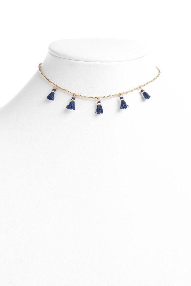 South Moon Under Mini Navy Tassel Choker Necklace | South Moon Under
