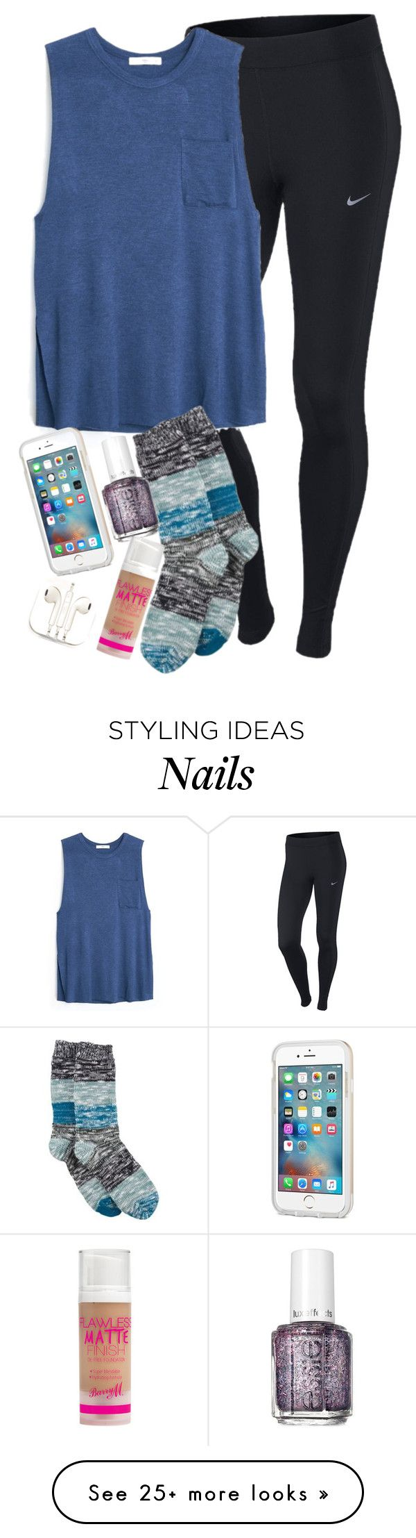 """""""i just wanna be okay be okay be okay i just wanna be okay today"""" by elizabethannee on Polyvore featuring NIKE, MANGO, Hue, Essie, Barry M, PhunkeeTree, women's clothing, women's fashion, women and female"""