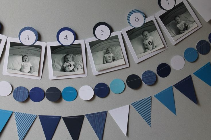 ANY COLOR Baby's First Year 12 Month Photo Banner, Paper Banner Display for 0-12 Month Pictures - blue - navy - nautical - Month by Month by ShopImperfectionista on Etsy https://www.etsy.com/listing/452047692/any-color-babys-first-year-12-month