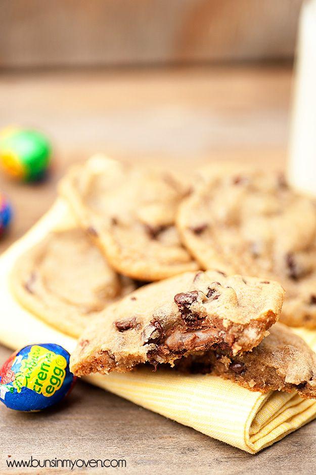 Cadbury Creme Egg Stuffed Chocolate Chip Cookies. Made with chocolate chip cookie dough and mini cadbury creme eggs.