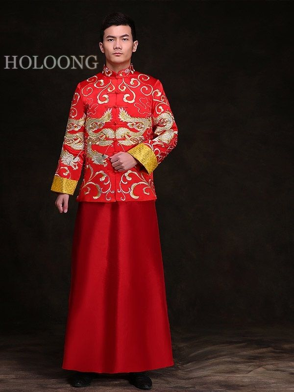0bfdc8342 XiuHe suits Groom wedding wear Chinese style formal wearing Toast garment  Tang & Groomsmen