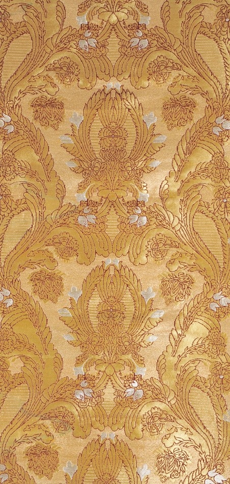 Modern fabric from India, 23 inches wide. Golden Brocade Fabric from Banaras with Woven Flowers and Leaves $95 a meter