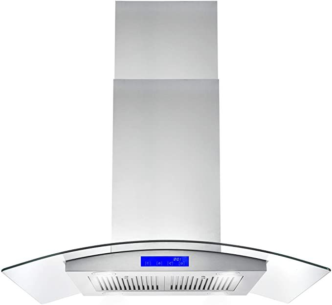 Amazon Com Cosmo 668ics900 36 In Island Mount Range Hood With Soft Touch Controls Permanent Filters Led Lights Range Hood Island Range Hood Kitchen Ceiling