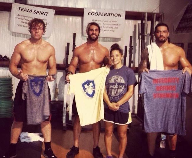 Roman Reigns at the end of a workout with other Shield members during the early part of his wrestling career...