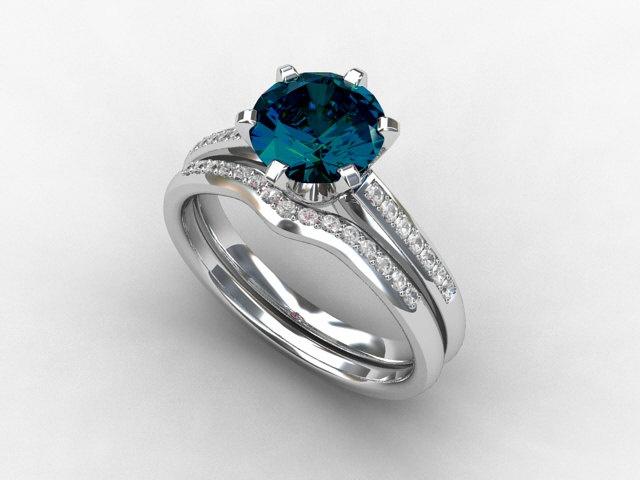 engagement ring set london blue topaz diamond band wedding ring set gold london blue pave solitaire diamond engagement blue teal - Blue Diamond Wedding Ring Sets