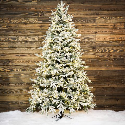Shop Ge 7 5 Ft Pre Lit Alaskan Fir Flocked Artificial Christmas Tree
