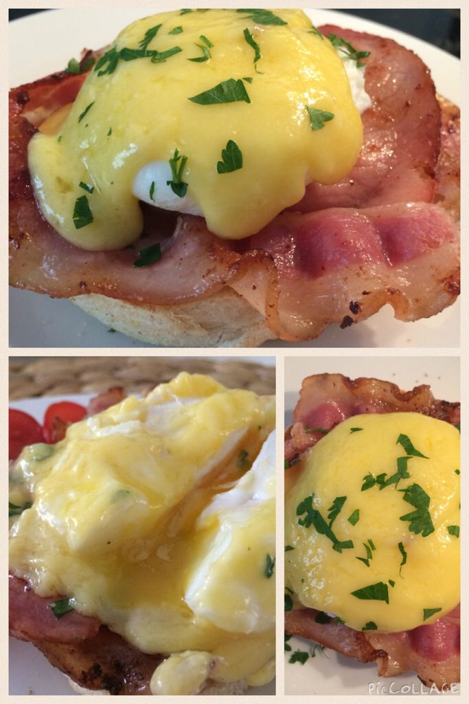 Benedict eggs for breakfast @ Heartmade Goodies   #eggs #bacon #hollandaisesauce #muffin