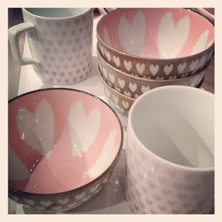 Paint something like this at Color Me Mine or just buy them @west elm Heart Mugs & Bowls