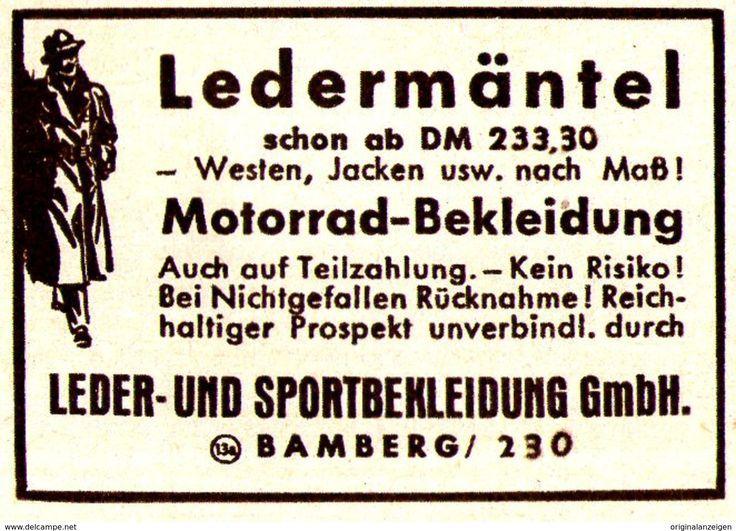 Original-Werbung/ Anzeige 1952 – LEDERMÄNTEL / LEDERBEKLEIDUNG – BAMBERG – ca. … – Pinde